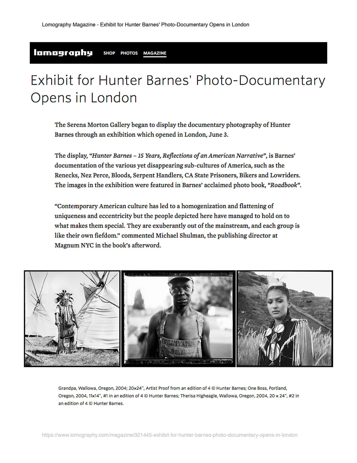Exhibit for Hunter Barnes' photo documentary opens in London - Lomography Magazine - Page 1